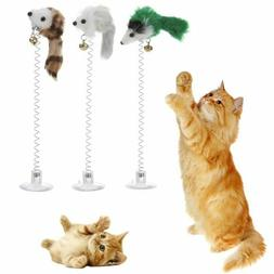 1/3Pcs Funny Cat Toys Elastic Feather False Mouse Bottom Suc