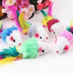 1/5/10x Soft Fleece False Mouse Cat Toys Colorful Feather Fu