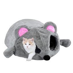2-in-1 Cat Pet Bed Tunnel Waterproof Grey Den Nest Cartoon M