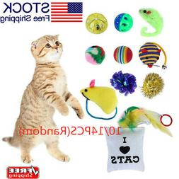 10/14Pcs Toys Play Fun Cat Lot Bulk Mice Balls Catnip Play T