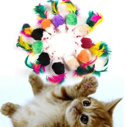 10 Pcs False Mouse Pet Cat Toys Mini Playing Toys with Color