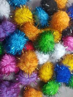 "10 Sparkle Ball Cat Toys Glitter Pom Poms, 1.5"" Cat Balls &"