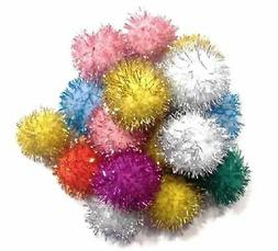 "10 Glitter Ball Cat Toys Fun Pom Poms, 1"" W"