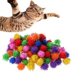100 Pcs Colorful Tinsel Pom Pom Balls For Cat Kitten Funny K