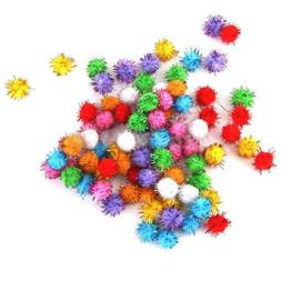 100pcs Glitter Tinsel Pompom Balls Small Pom Ball Cat Puppy