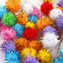 100pcs Lovely Mini Glitter Tinsel Pompom Small Pom Ball Pet