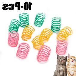 10PCS Cat Spring Toys Interactive Funny Plastic Cat Kitten T
