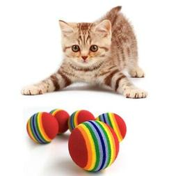 10Pcs Super Cute Rainbow Toy Ball Small Dog Cat Pet Eva Toys