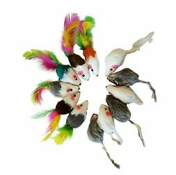 12 Cat Real Fur Rattling Mice, 6 plain and 6 with feathers