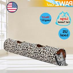 12'' Dia Large Pet Cat Play Tunnel 2 Holes Foldable Leopard