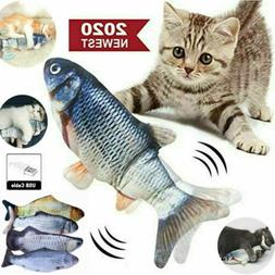 "12"" Electric Moving Cat Kicker Fish Toy Realistic Flopping F"