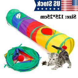 120cm Foldable Cat Tunnel 4 Holes Pet Toy Cat Kitten Rabbit