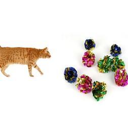 12pcs Colorful Crinkle Foil Balls Cat Kitten Sound Paper Toy