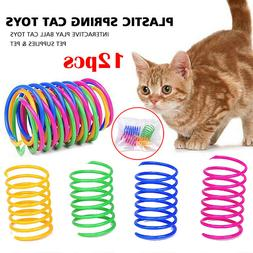 12PCS Pet  Bouncy Recycled Colorful Plastic Teasing Toys Cat