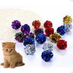 12Pcs Pet Cat Random Color Crinkle Foil Balls Pets Kitten To