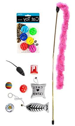 14 Cat Toys Kitten Toys Assortments, Cat Feather Teaser - Wa