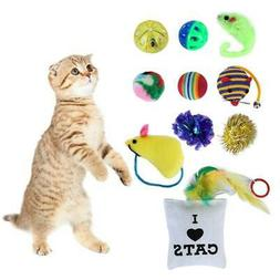 14Pcs Pet Cat Toys Lot Bulk Mice Balls Catnip Kitty Play Toy