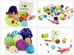 14Pcs Pet Cat Toys Set Bulk Mice Balls Catnip Kitten Toy Pla