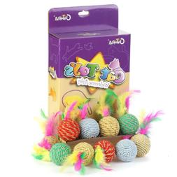 """15 Pack 1.6"""" Rattle Cat Toys Ball with Feather Rope Kitten S"""