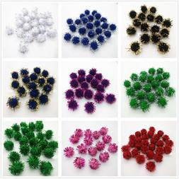 15mm Sparkly Small Puff Kitten Cat Toys NEON IRIDESCENT GLIT