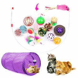 16 Pcs Interactive Cat Toys Variety Pack Cat 2 Way Tunnel Fl