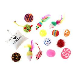 Hukai 16 Variety Small Mini Playing Ball Mouse Toys Gift For