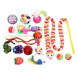16Pcs/lot Pet Cat toy Set Feather Teaser Wand Catnip Toys Ba