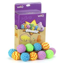 "18PCS 1.6"" Soft Cat Toys Ball with Bell Colorful helicoid Ba"