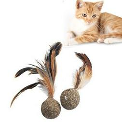 1pc Catnip Toys Soft Feather Cat Toy Ball Treats Interactive