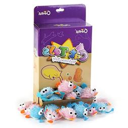 Chiwava 12PCS 3.5'' Soft Furry Cat Toy Plush Rattle Duck Fro