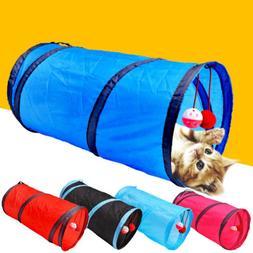2 Holes Pet Cat Play Tunnel Toys Kitten Rabbit Squeaking Cri