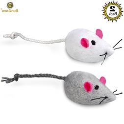 2 Mice toys for cats - Rattling sound thrills, promotes agil