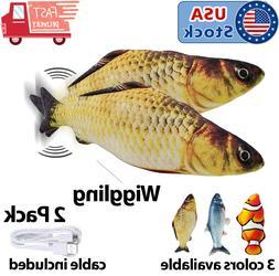 2-Pack Cat Wagging Fish Realistic Plush Simulation Interacti