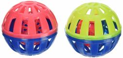 2 Pack Pet Cat Play Balls , Round Play Ball Bell Pounce Chas
