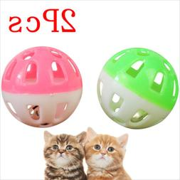 2 Pcs Plastic Puppy Cat Round Play Ball With Bell Pounce Cha