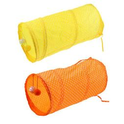 2 Pieces Collapsible Cat Tunnel Toys Interactive Small Anima