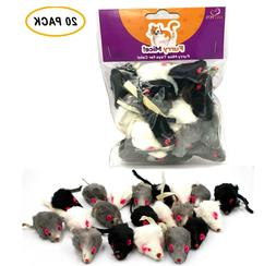 20 Furry Mice with Catnip & Rattle Sound Made of Real Rabbit