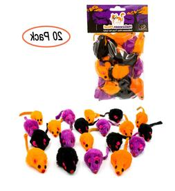 AXEL PETS 20 Halloween Colorful Mice Cat Toys Rabbit Fur wit