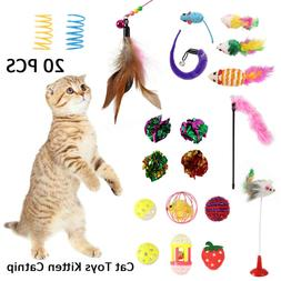 20PCS Cat Kitty Toys Indoor Cat Catnip Toys Balls Feathers W