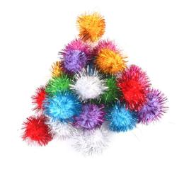 21x tinsel fluffy craft pompoms ball kids