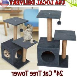 "24"" Height Cat Tree House Condo,Cat Activity Tower Pet Kit"