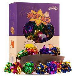 """24 Pack 1.6"""" Mylar Blinking Crinkle Cat Toys Balls Light Kit"""