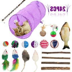 24Pcs Pet Cat Toys Set Bulk Mice Balls Catnip Pet Kitty Kitt