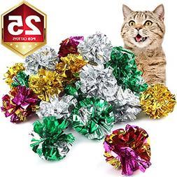25 Pack Crinkle Balls Cat Toys Original Mylar Crinkle Balls