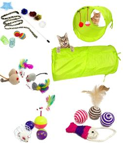 26 Pack - 24 Toys and 2 Collapsible Cat Tunnel for Pet Cat K