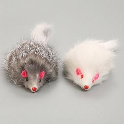 US 2PC Pet Cat Toy Real Rabbit Fur Mouse Cat Play Toys White