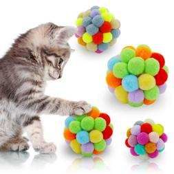 2pcs Cat Toy Colorful Lovely Handcraft Bells Bouncy Ball Cat