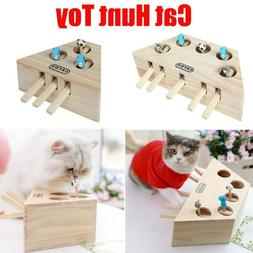 3/5-Holed Pet Indoor Solid Wooden Cat Hunt Toy Interactive M
