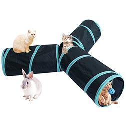 3 Way Cat Tunnel Tubes Crinkle Collapsible Pet Play Toy Tunn