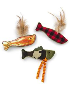 3 Pack Funny Fish Friends Crinkle and Catnip Cat Toys with m